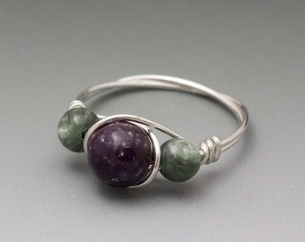 Lepidolite & Seraphinite Sterling Silver Wire Wrapped Bead Ring - Made to Order, Ships Fast!