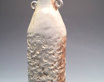 Hand Textured, Slap Built Ceramic Wood Fired Bottle