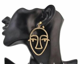 Gold Art Deco Statement Earrings