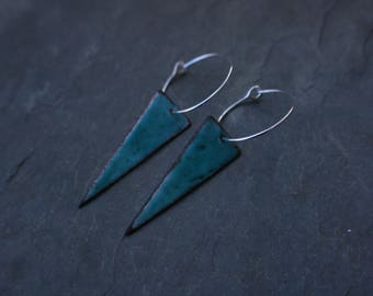 turquoise enameled copper triangle earrings