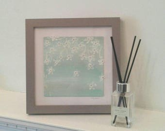 BLOSSOM PAINTING - mixed media painting - framed flower painting