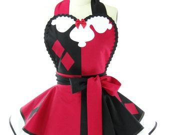Retro Apron - Harley Quinn Womens Costume Apron - Kitchen, Hostess, & Cosplay Aprons for Women by BambinoAmore