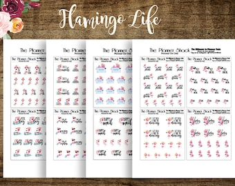Flamingo Life | Printable Planner Stickers | Planner Printables | Printable Stickers | Flamingo | Summer | Tasks | Chores | Cut Files