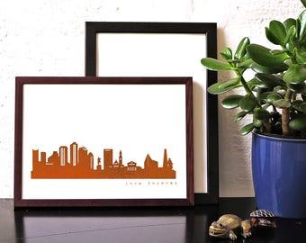 """Unique BOSTON """"Love Forever"""" Honeymoon Poster, copper foil BOSTON skyline, modern hygge artwork, Boston art print, wedding card, engagement"""