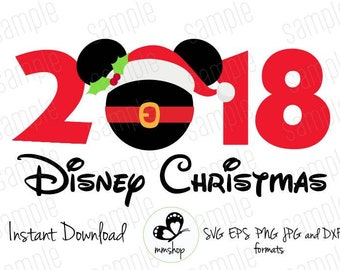 2018 Disney Christmas - Mickey Christmas Hat - Instant Download - SVG FILES