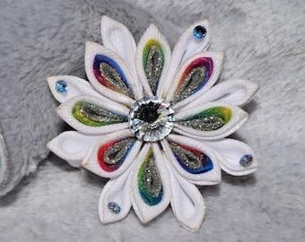 Unicorn Kanzashi Flower with Swarovski Crystals