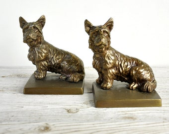 Vintage Scottie Dog Bookends, Scottish Terrier Bookends, Cast Metal Frankart, 1929