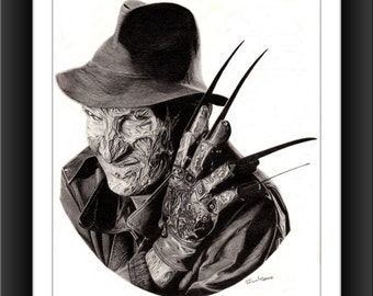 Freddy Kruger 8 x 10 signed and numbered print - Original Graphite Portrait