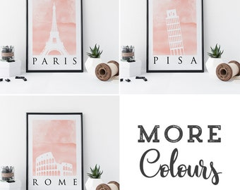 Choose 3x Prints: Paris, London, New York, Dubai, Berlin, Rome, Pisa and Amsterdam on Watercolour backgrounds in A3 or A4