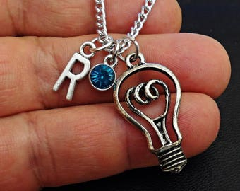 Great Design light bulb personalized  initial Necklace With Personalized Birthstone  /NE11