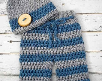 Baby Boy Coming Home Outfit ~ Crochet Hat and Pants Set ~  Baby Boy Photo Prop ~ Newborn Boy Photo Outfit ~ Baby Girl Coming Home Outfit