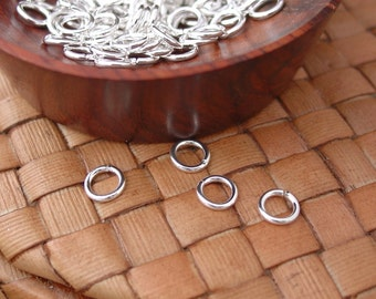 200 pcs 6, 7, or 8 mm Silver Plated Brass Jump Rings, Open (18 gauge)
