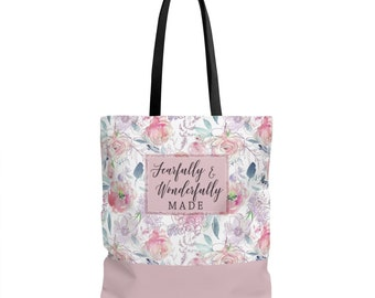 Bible Study Tote Bag / Fearfully And Wonderfully Made / Church Bag / Scripture Tote Bag / Bible Verse Tote / Christian Gift / Bible Bags