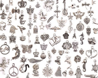 Assorted Charms - Bulk Lot - Assorted Charms - Antique Silver - 100 pcs - Mixed Charms Pendants - Jewelry Making Charms- Arts and Crafts