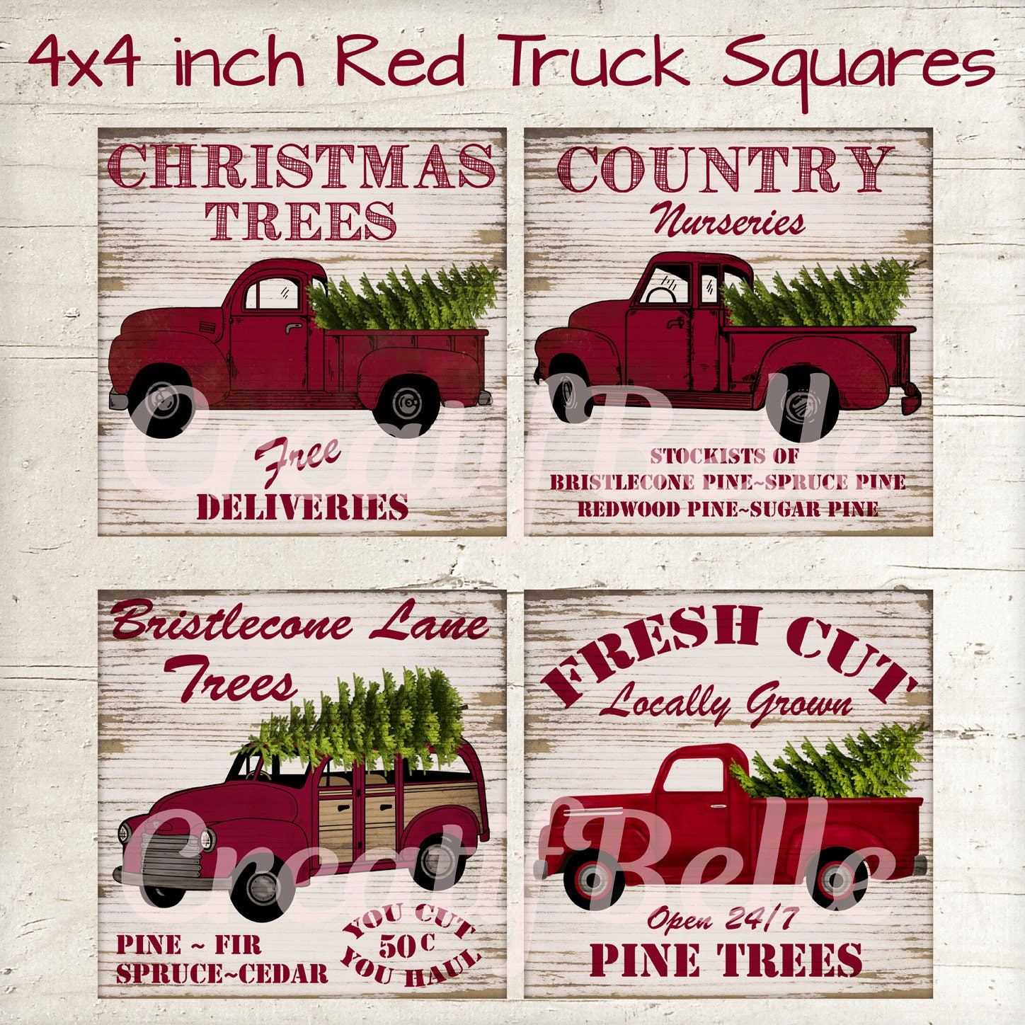 4x4 inch Vintage Red Christmas Trucks on Wood Collage Sheet