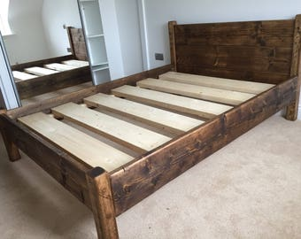 Reclaimed Bed Frame Chunky Solid Rustic Pine Wood With Headboard All Sizes  Available FREE UK DELIVERY