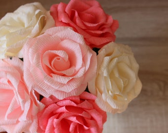 6 Paper Roses on Stems, Paper Flowers Wedding, Paper Flower Bouquet, Bridal Bouquet, Bridal Flowers, Wedding Decorations,Wedding Centerpiece