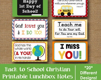 Back to School Lunch Box Notes | Printable Lunchbox Notes for Kids | Scripture Lunch Box Note | Bible Verse Lunch Love Notes | DIY PRINTABLE