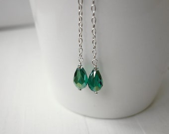 Silver chain earrings long dangle earrings emerald green bead earrings minimalist long earrings for women