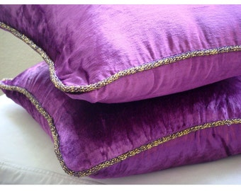 Decorative Throw Pillow Covers Accent Pillow Couch Pillow 18x18 Inch Velvet Pillow Cover Purple Shimmer Home Decor - Purple Shimmer