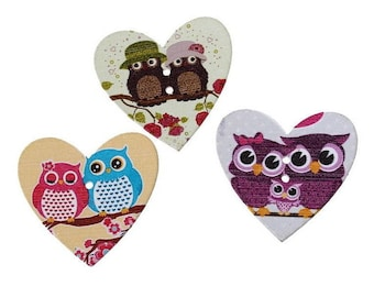 3 big buttons as owls - 35 x 33 mm - 2 holes - OWL Couple heart