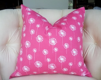 "Pink dandelion  pillow cushion cover 18"" or any color shown"