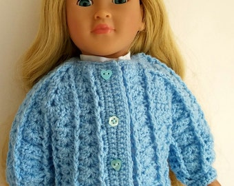 18 inch doll sweater, AG doll jacket, doll cardigan, light blue, fancy, hand crochet, big doll clothes, many other colours made to order