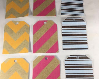 Bright Stripes Tags - set of 9