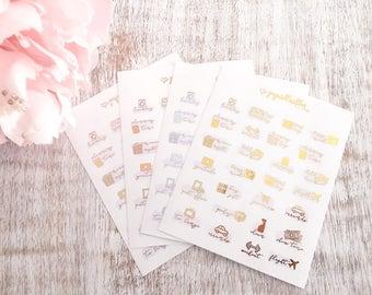 Functional Foils   Foil mini icon planner stickers