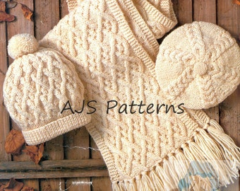 PDF Knitting Pattern for Aran Beret, Hat & Scarf to fit Adults and Children - Instant Download