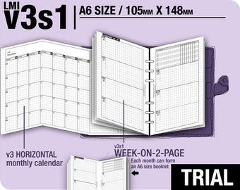 Trial [A6 v3s1 w/o daily] July to September 2018 - Filofax Inserts Refills Printable Binder Planner Midori.
