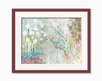 Abstract Garden Watercolor, Garden Painting, Garden Art, Abstract Art, Home Decor, Printable Wall Art, Floral Painting, Abstract Floral
