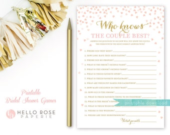 Who Knows the Couple Best . Pink and Gold Bridal Shower Game . Printable Bridal Shower Games . Instant Download . Gold Glitter Pink Hearts