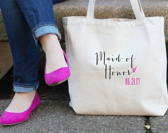 Maid of Honor with Heart Personalized Wedding Date Tote Bag // Tote Bag Custom Maid of Honor Canvas Bag // Wedding Gift Tote Bag