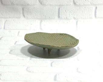 Textured Ceramic Dish - Soap Dish - Sponge Holder - Jewelry Dish - Pottery Soap Dish - Green Textured Dish - Candy Dish - Trinket Dish