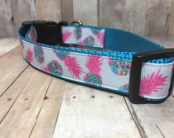 "The Mary | Designer 1"" Width Dog Collar | CupcakePups Collars | girly Pineapples | Medium/Large Dog Collar"