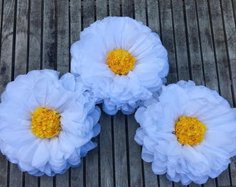 "Large Paper Daisy, 14"" Large Tissue Paper Flowers, Party Flowers, Nursery Decor, Bridal Decor, Wedding Decor"