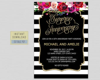 Red rose invitation etsy surprise anniversary party invitations surprise anniversary invitationsanniversary invitations template black gold red stopboris Image collections
