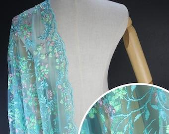Colorful Flower Lace Fabric Embrodiery Dress Lace Fabric Bridal Wedding Dress cheongsam 1 Yard S0558