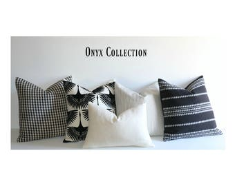Onyx Collection Black Cream / 12x18 12x21 Accent Pillows & More Sizes / Small Lumbar Pillow / Mid Century Pillow / 12 x 21 Pillow cover