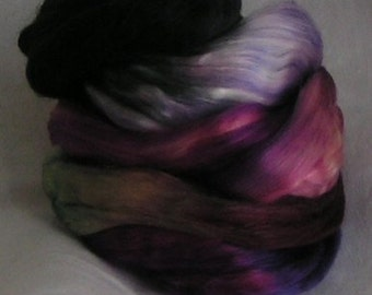 SILK Top Roving Sliver Fiber Mulberry cultivated TIFFANY PhatFiber Sample Luxurious Quality Hand Painted Supreme Mulberry Silk Handspinning
