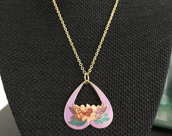 Lavender cloisonne pendant necklace, Cloisonne necklace,  cloisonne purple necklace, vintage cloisonné purple pendants, cloisonne  N315