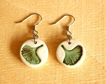 Ceramic GINKGO LEAF Earrings - Little Handmade Porcelain Ginkgo Leaf Earrings - Ready To Ship