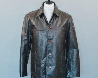 Vintage TCM 90's Distressed Brown Leather Blazer Jacket Indie Medium Chest 38 40