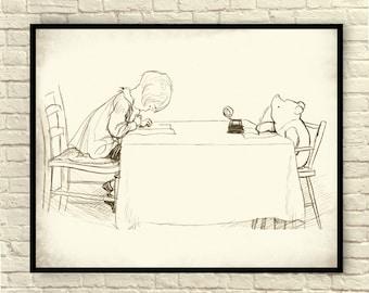 Winnie the Pooh, Classic Pooh, Pooh Wall Art, Pooh Art Prints, Vintage Pooh Sketches, Vintage Pooh Drawings, Classic Winnie the Pooh.
