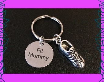 Fit mummy keyring, mom into fitness gift, mum fitness keychain, 3D running shoe keyring, Fit Mummy PT, Fit Mummy personal training UK