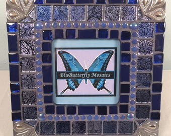 Royal Blue and Silver Mosaic Picture Frame