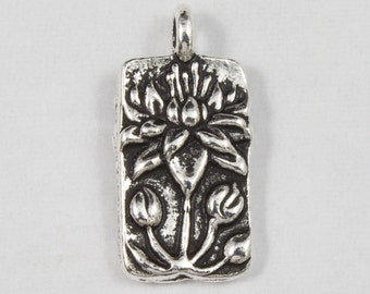 8.75mm x 17mm Antique Silver Tierracast Floating Lotus Charm #CKA135