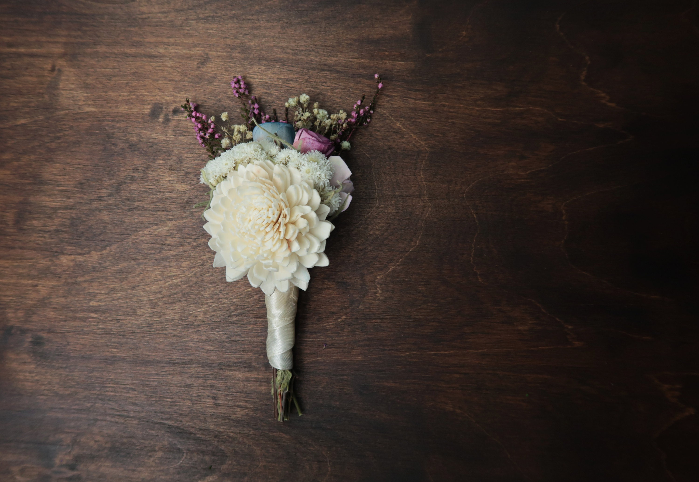 Sola Flower Pastel Boutonniere Ivory Blue Lavender Purple Preserved