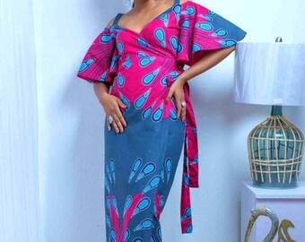 Ankara cold shoulder maxi wrap dress